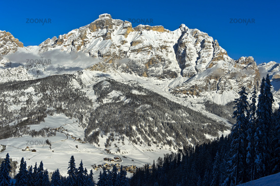 Dolomites in winter near Alta Badia, Dolomites, South Tyrol, Italy