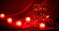 Champagne glasses and candles