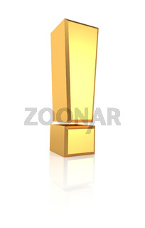 3D Gold Exclamation Sign