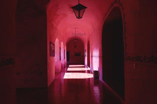 Corridor of the former monestary Convent de San Bernardino de Siena in Valladolid, Mexico