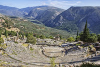 Ruins of the ancient theatre at Delphi, Greece