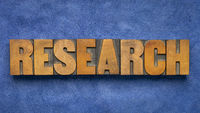 research word abstract in vintage letterpress wood type