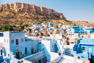 Mehrangarh Fort and blue city in Jodhpur, India