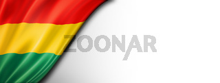 Bolivian flag isolated on white banner