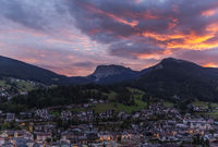 Red evening skies over the Ortisei in Italy