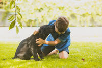 Puppy giving all its love to the young owner