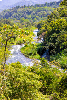 Costa Rica Sucio river in a stretch of tropical jungle