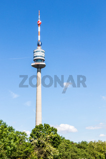 View on the Television and Communication Tower ger.: Donauturm in Danube Park in Donau City, Vienna, Austria, Europe