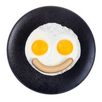 top view of fried eggs and boiled sausage isolated