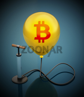 Manual hand pump connected to the inflated yellow balloon with Bitcoin icon. 3D illustration