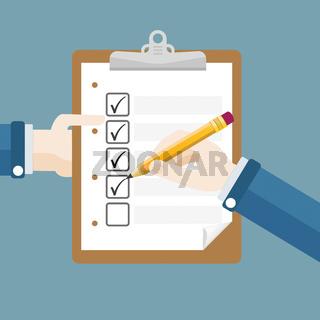 Hands Clipboard Pencil Checklist