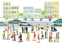 City with people and road traffic, illustration
