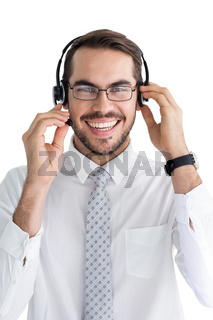 Portrait of a smiling businessman with headphone