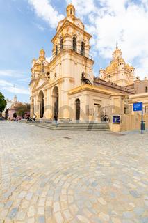 Cordoba Argentina cathedral seen from Santa Catalina passage