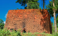 Simple clay oven for bricks in Southern Uganda