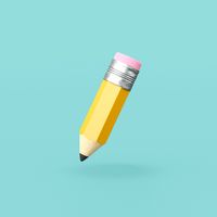 Funny Pencil on Blue Background