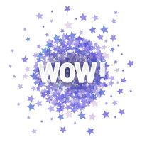 WOW Lettering on Blue Transparent Starry Background for Web Banners, Header, Shop, Logo, Logotype, Sign