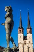halle saale, deutschland - 17.06.2019 - statue am göbelbrunnen auf dem hallmarkt