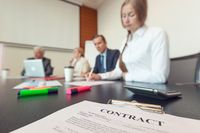 Business people and contract