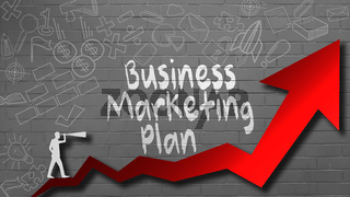 Business marketing plan word for success concept with red arrow