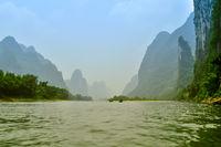 Li river baboo mountain landscape in Yangshuo Guilin China