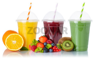 Fruit smoothies fruits orange juice green smoothie drink collection straw cup isolated on white