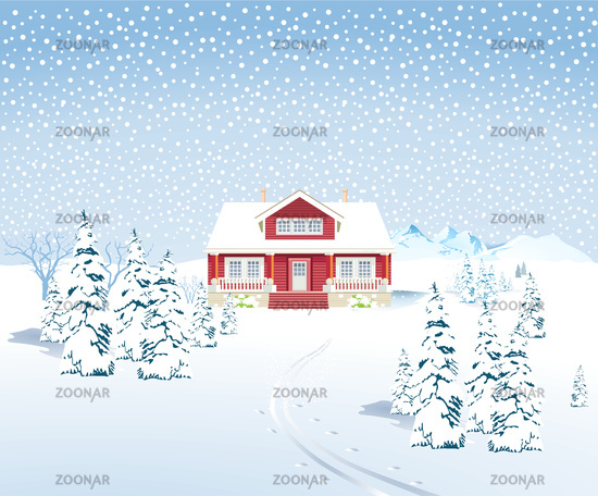 Winter landscape with country house, - vector illustration