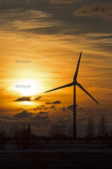 Wind farm in sunrise, Schleswig Holstein, Germany
