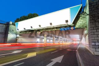 blank light box on underpass entrance