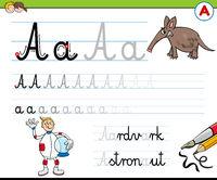writting letter A worksheet for children