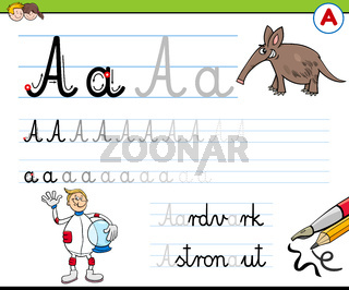 writting letter A worksheet for children