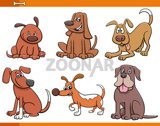 dogs and puppies cute animal characters set