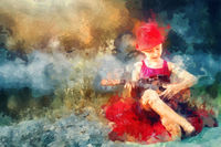 Little girl sitting on blanket and playing ukulele, painting effect.