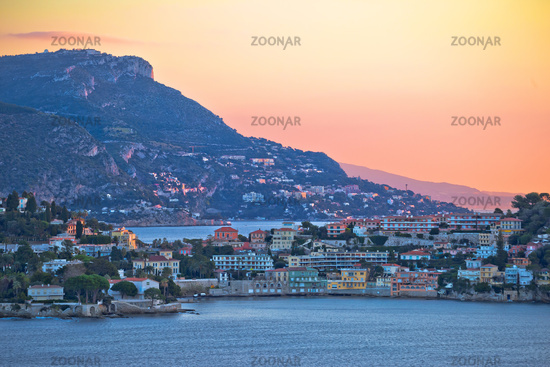 Villefranche sur Mer idyllic French riviera bay and Cap Ferrat sunrise view