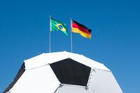 Soccer football with brasil german flag 2014