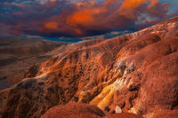 Mars landscape with sunset