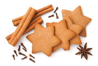 Gingerbread Star Cookies With Cinnamon Sticks