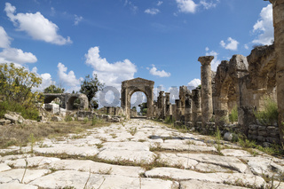 Pillars along byzantine road with triumph arch in ruins of Tyre, Lebanon