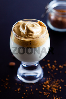 Dalgona coffee - whipped instant coffee mousse in the glass