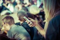 Female smartphone user in public