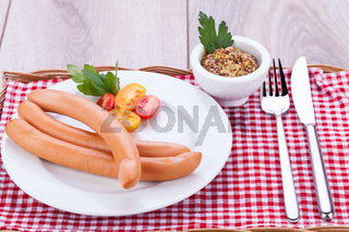 tasty traditional pork sausages frankfurter snack food