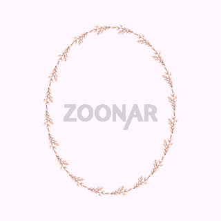 Oval wreath of willow. Willow wreath.Easter wreath made of willow stalks.Vector flat illustration. Design for invitations, postcards, printing