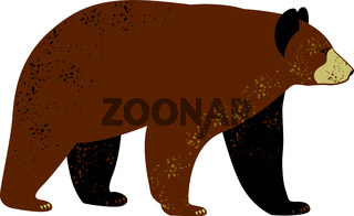 Bear. Flat vector illustration. Simple silhouettes, dots texture. Isolated on white.