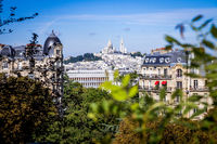 Paris city aerial view from the Buttes-Chaumont, Paris