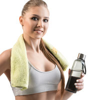 Beautiful girl in top with towel and bottle shot