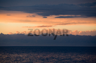 Issyk-Kyl lake at sunset