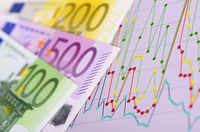 Euro Banknotes and financial chart