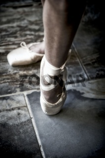 Feet of a Girl with Ballet shoes