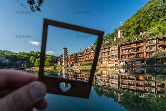 Framed landmark Fenghuang Wanming Pagoda Tower