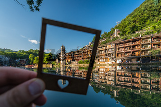 Framed landmark Fenghuang Wanming Pagoda Tower
